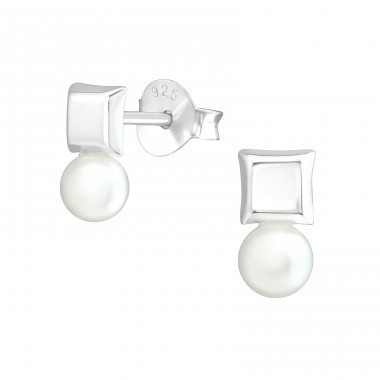 Geometric - 925 Sterling Silver Ear Studs with Pearls A4S37796