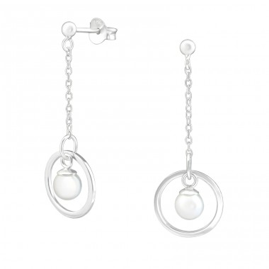 Hanging Pearl - 925 Sterling Silver Ear Studs with Pearls A4S37797