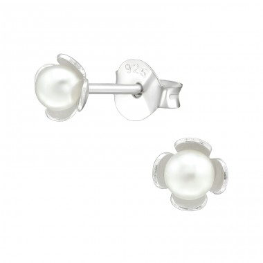 Flower - 925 Sterling Silver Ear Studs with Pearls A4S38393