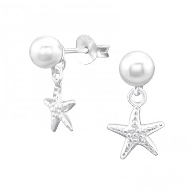 Hanging  Starfish - 925 Sterling Silver Ear Studs with Pearls A4S38395