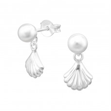 Hanging  Shell - 925 Sterling Silver Ear Studs with Pearls A4S38396