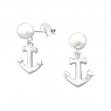 Anchor - 925 Sterling Silver Ear Studs with Pearls A4S38397