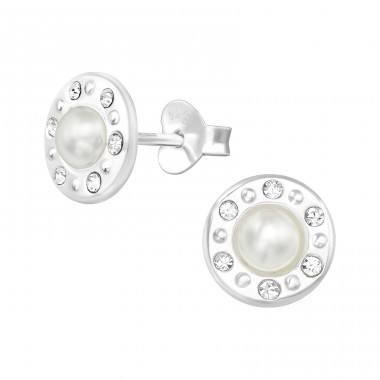 Round - 925 Sterling Silver Ear Studs with Pearls A4S38779