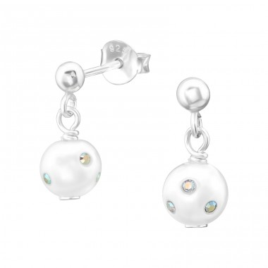 Ball With Hanging Pearl - 925 Sterling Silver Ear Studs with Pearls A4S38781