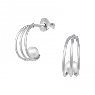 Half Hoop Pearl - 925 Sterling Silver Ear Studs with Pearls A4S39067