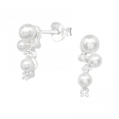 Geometric - 925 Sterling Silver Ear Studs with Pearls A4S39929