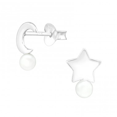 Moon & star - 925 Sterling Silver Ear Studs With Pearls A4S39991