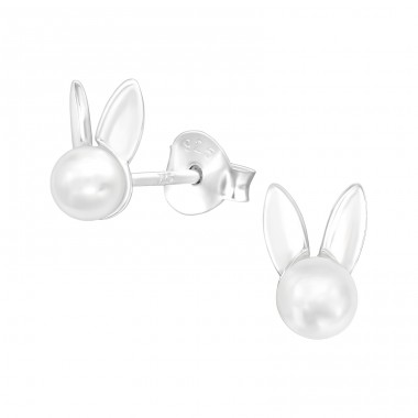 Rabbit - 925 Sterling Silver Ear Studs with Pearls A4S40080