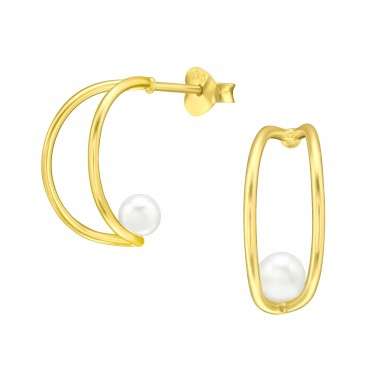 Golden Half Hoop with pearl - 925 Sterling Silver Ear Studs With Pearls A4S41113