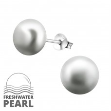 Round - 925 Sterling Silver Ear Studs with Pearls A4S6789