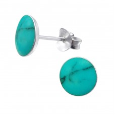 Round - 925 Sterling Silver Plain Ear Studs A4S11677