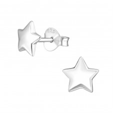Star - 925 Sterling Silver Plain Ear Studs A4S1308