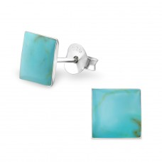 Square - 925 Sterling Silver Plain Ear Studs A4S14101