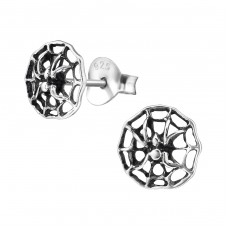 Spider Web - 925 Sterling Silver Plain Ear Studs A4S15769