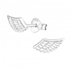 Wing - 925 Sterling Silver Plain Ear Studs A4S16185