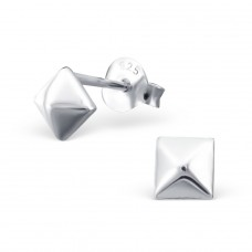 Pyramid - 925 Sterling Silver Plain Ear Studs A4S17400
