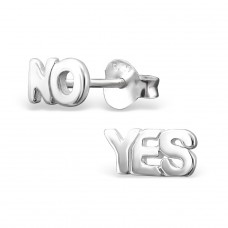 Yes No - 925 Sterling Silver Plain Ear Studs A4S17408