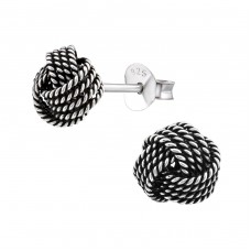 Knot - 925 Sterling Silver Plain Ear Studs A4S17991