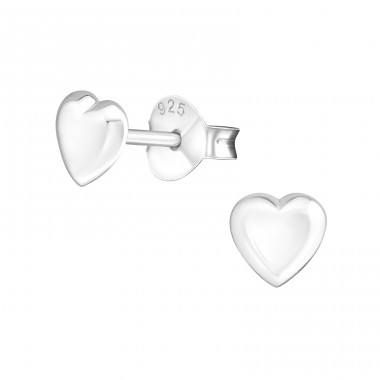 Heart - 925 Sterling Silver Plain Ear Studs A4S18100