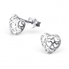 Filigree Heart - 925 Sterling Silver Plain Ear Studs A4S18213
