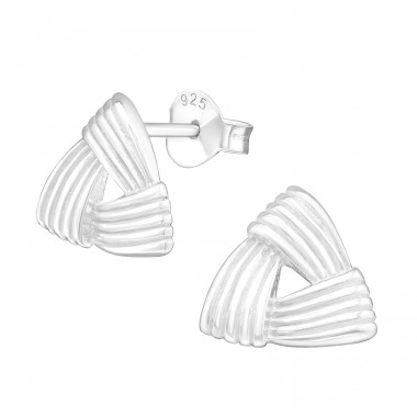 Celtic Knot Triangle - 925 Sterling Silver Plain Ear Studs A4S18854