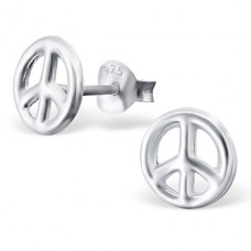 Peace Sign - 925 Sterling Silver Plain Ear Studs A4S19333