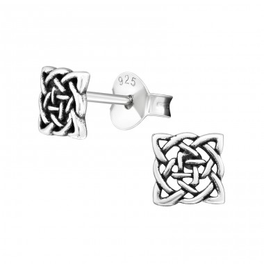 Celtic Knot Square - 925 Sterling Silver Plain Ear Studs A4S19349