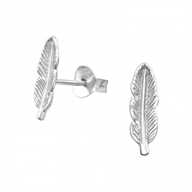 Feather - 925 Sterling Silver Plain Ear Studs A4S19447