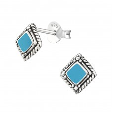 Square - 925 Sterling Silver Plain Ear Studs A4S19812