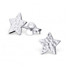 Star - 925 Sterling Silver Plain Ear Studs A4S20558