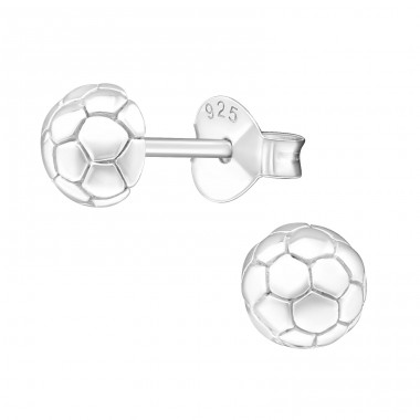 Football - 925 Sterling Silver Plain Ear Studs A4S20567