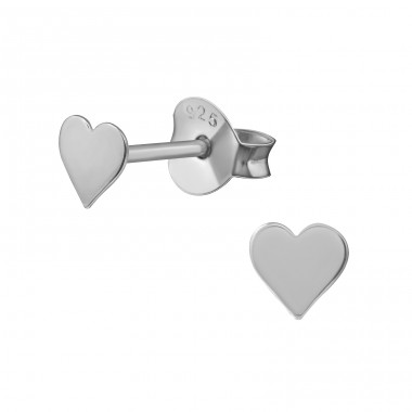 Heart - 925 Sterling Silver Plain Ear Studs A4S20622