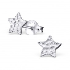 Star - 925 Sterling Silver Plain Ear Studs A4S20801
