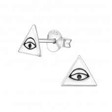 Triangle - 925 Sterling Silver Plain Ear Studs A4S20832