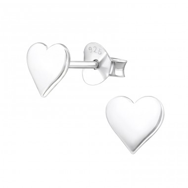Heart - 925 Sterling Silver Plain Ear Studs A4S20838