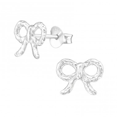 Bow - 925 Sterling Silver Plain Ear Studs A4S20852