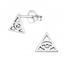 Triangle - 925 Sterling Silver Plain Ear Studs A4S21178