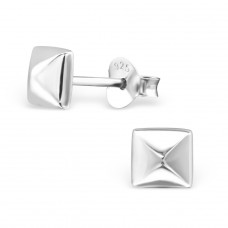 Square - 925 Sterling Silver Plain Ear Studs A4S21366