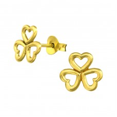 Clover Leaf - 925 Sterling Silver Plain Ear Studs A4S21447
