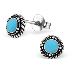 Round - 925 Sterling Silver Plain Ear Studs A4S21868
