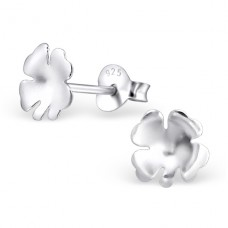 Lucky Clover - 925 Sterling Silver Plain Ear Studs A4S22943