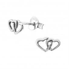 Heart - 925 Sterling Silver Plain Ear Studs A4S23213