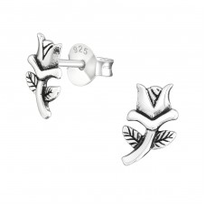 Flower - 925 Sterling Silver Plain Ear Studs A4S23222