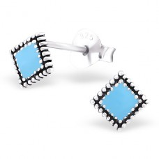 Square - 925 Sterling Silver Plain Ear Studs A4S23245