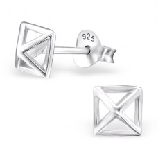 Square - 925 Sterling Silver Plain Ear Studs A4S24769