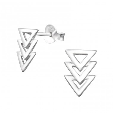 Triangle - 925 Sterling Silver Plain Ear Studs A4S24770