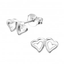 Hearts - 925 Sterling Silver Plain Ear Studs A4S26261