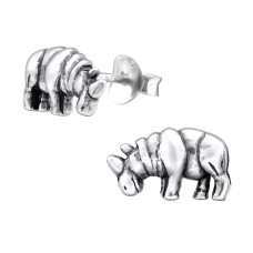 Rhinoceros - 925 Sterling Silver Plain Ear Studs A4S26758