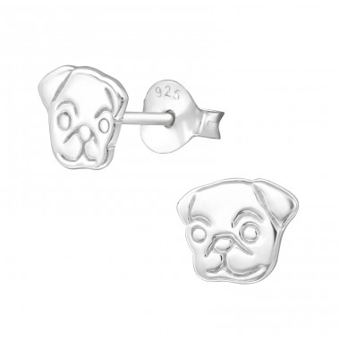 Dog - 925 Sterling Silver Plain Ear Studs A4S26943