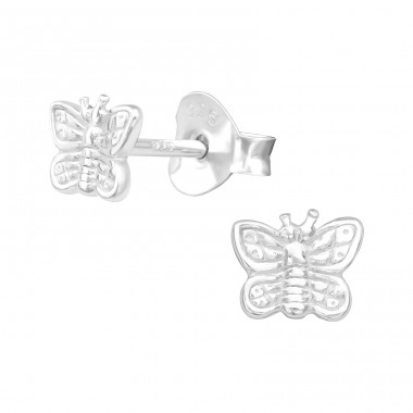Butterfly - 925 Sterling Silver Plain Ear Studs A4S26946